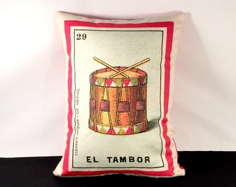 CLEARANCE Sale: El Tambor Loteria Drum Pillow Cover 1920, Mexican Loteria, Day of the Dead Dia de los Muertos, Mexican Musical Intrument