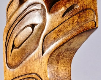 Hand Carved Haida Cedar Totem Pole Showing a Thunderbird & Bear by Ramsey Louis