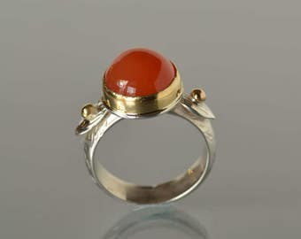 Carnelian Ring, Silver and Gold Orange Ring, Carnelian Cocktail Ring- Nature Inspired, Bright Orange, Statement Ring, Made to Order