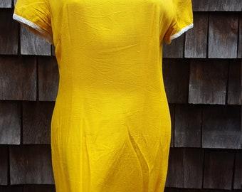 1960's Vintage Shift Dress Yellow Miniskirt Slinky