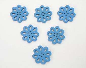 SET of 6 wood buttons: flower Lacy blue 20mm