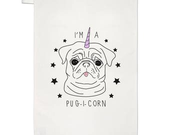 I'm A Pugicorn Stars Tea Towel Dish Cloth