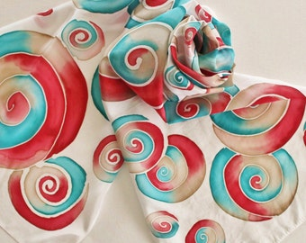 Hand Painted Silk Scarf - Handpainted Scarves Cherry Red Turquoise Teal Blue Aqua Tan Beige Ecru Khaki White Circles Swirls Abstract