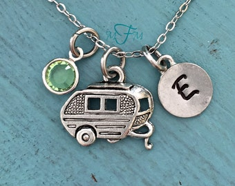 Camping Trailer Charm Necklace, Personalized Necklace, Silver Pewter Camping Charm, Custom Necklace, Swarovski Crystal birthstone, monogram