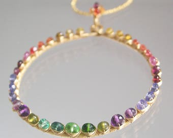 Rainbow Gemstone Circle Pendant, Studded Ring 14k Gold Filled Necklace with Sapphire, Tourmaline, Tsavorite, Apatite, Chakra Gemstones