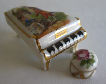 Vintage Limoges French Porcelain Miniature Dollhouse Furniture Baby Grand Piano