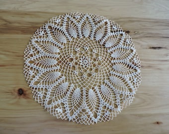 Large Vintage Doily, Vintage Beige Doily with Pineapple Design, Large Round Hand-Crocheted Doily, Vintage Crochet Doily