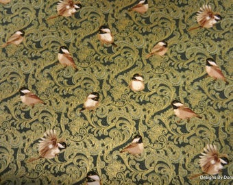 """One Half Yard Cut Quilt Fabric, """"My Little Chickadee"""", Chickadees & Berries, by Jackie Robinson for Benartex, Sewing-Quilting-Craft Supplies"""