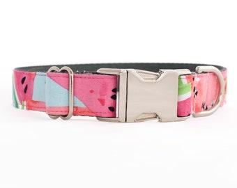 Pink Watermelon Dog Collar for Girls - Silver Buckle or Half Check Chain Martingale Collar - Summer Dog Collar - Nylon Collar