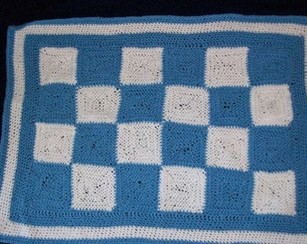 Blue and White Crocheted Checkered Blanket
