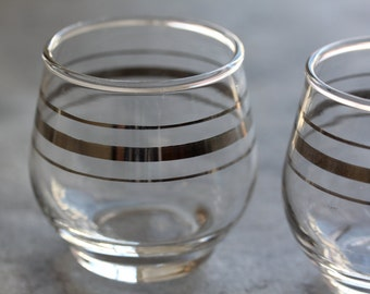 Mid Century Silver Band Roly Poly Glasses & 1 bonus piece