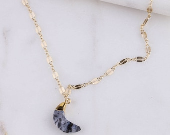 Gemstone Crescent Moon Gold Filled Lace Chain Choker, Dainty Gold Choker, Gemstone Gold Choker, Chain Choker, Gold Moon Choker Necklace