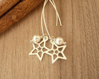 Star and Pearl Earrings,  Sterling Silver Earrings , Dangle Pearl Earrings, Long Swarovski Earrings, 925 silver jewelry