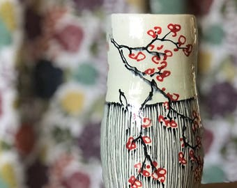 Cup Cherry Blossom Pinstripe Tumbler