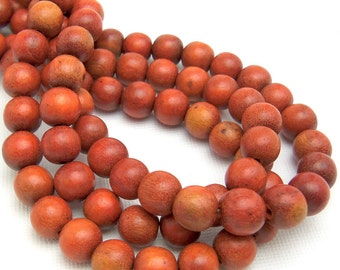 Sibucao Wood, 8mm, Round, Small, Smooth, Natural Redwood Beads, Full 16 Inch Strand, 50pcs - ID 1047