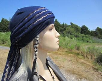 Head Scarf Turban Hair Wrap Beanie Hat Womens Navy Blue Cotton Fashion Hats A1300S