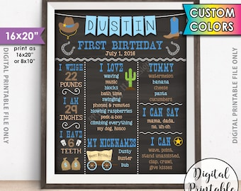 """Cowboy First Birthday Board, 1st Birthday, First B-day Personalized Milestones Custom Stats Poster, Chalkboard Style PRINTABLE 16x20"""" Sign"""