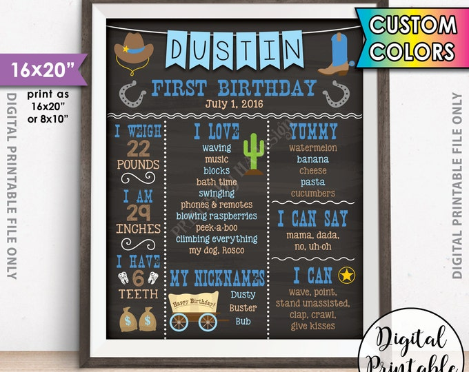 "Cowboy First Birthday Board, 1st Birthday, First B-day Personalized Milestones Custom Stats Poster, Chalkboard Style PRINTABLE 16x20"" Sign"
