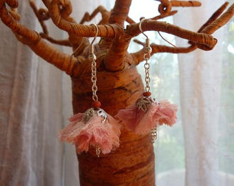 Long pink vintage fabric and Silver Flower Earrings