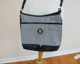 Vintage Vegan Black and White Graphic Striped Bag Cross Body Purse