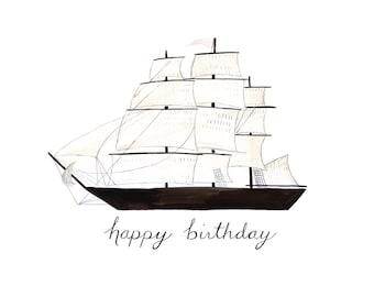 Clipper Ship Happy Birthday Card