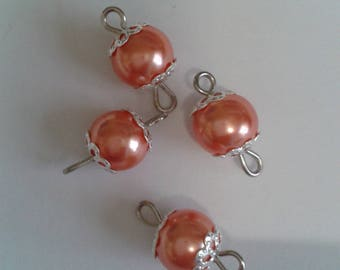 5 connectors 8mm salmon glass pearl beads