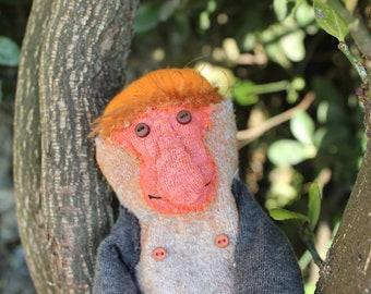 Proboscis species Sock Monkey doll Hand stitched, OOAK
