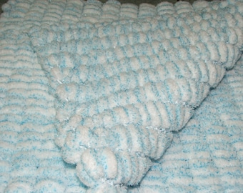 Blanket double tassels - blue and white - handmade - 100% polyester