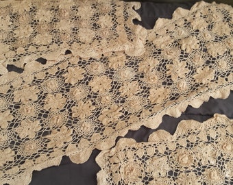Vintage Floral Table Runner Doily Set Granny Shabby Farmhouse Chic