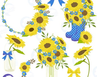 Sunflower clipart, Wedding clipart, shabby chic blue, sunflowers, country wedding, country party, mason jar, AMB-1435