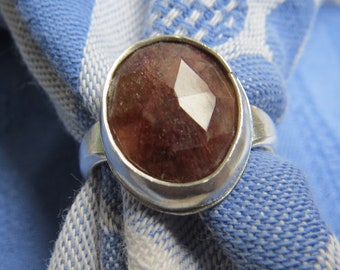 Large Rose Cut Brown Sapphire in Argentium Sterling Ring Size 8