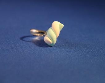 Handmade Polymer Blue Marshmallow Ring, kawaii cookie jewelry, miniature dessert jewelry, realistic food jewelry,
