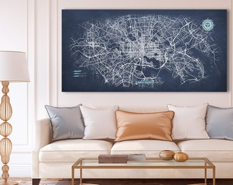 BALTIMORE Canvas Map Panoramic Wall Art Chalkboard City Map Canvas Poster