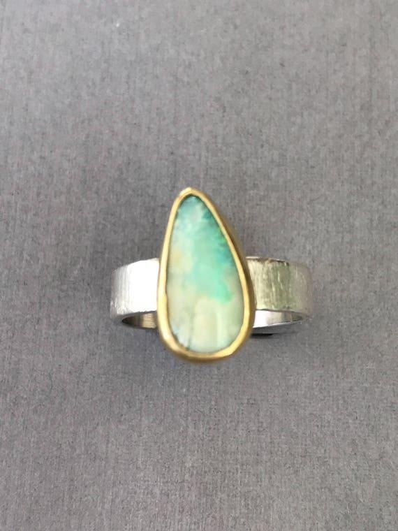 18k gold bezel  Australian Boulder Opal   Ring