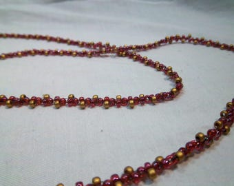 """Handmade Woven Seed Bead Necklace - Red & Gold - 60"""""""