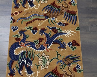 Hand knotted Tibetan Rugs - 100% Tibetan Wool - Jhan Druk Dragon Design Carpet  - Made in Nepal