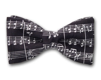 """Bow Tie """"Sonata""""- Black and White Silk Bowtie - Pre-Tied Bow Tie - Hand Made in USA"""