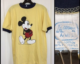 1970s Mickey Mouse yellow blue ringer t-shirt looks size large 20x26 Walt Disney Productions character tee