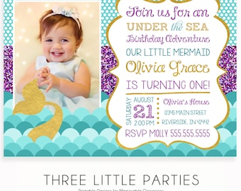 Under The Sea Invitation, Mermaid Birthday Invitations, Under The Sea Party, Printable Under The Sea Birthday Invitation,