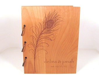 Wooden Wedding Guest Book Photo Album LARGE SIZE - Peacock Feather