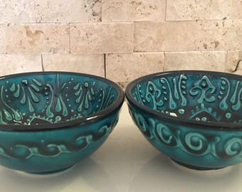Handmade Turkish Ottoman Ceramic Colourful 2 Pieces Nut Bowls 8cm Diameters