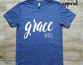 Grace Wins Shirt, Christian Shirt, Cute Bible Shirt, Christian Graphic Tee