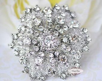 Rhinestone Brooch Pin -  Supply DIY - Flatback Embellishment Button - Wedding Brooch - Wedding Jewelry Supply - RD109