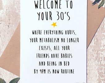 30th birthday card etsy bookmarktalkfo Image collections