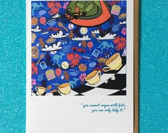 Pieds de fée féerie-carte de voeux comportant septembre carte de souhaits bibliothèque carte livre art histoire art