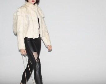 45% Off FLASH SALE - 1980s White Rabbit Tail Fur Coat   - Vintage White Rabbit Fur Coats  - Vintage White Fur Coats   - WO0028