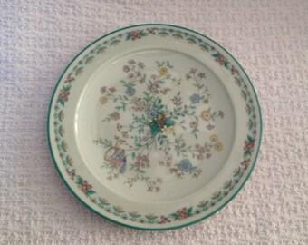 Noritake Paradise Plate, Floral Dessert Plate, Floral Bread Butter Plate, Paradise 8223 WBO, Japan, Green Floral Plate, GreenTrim