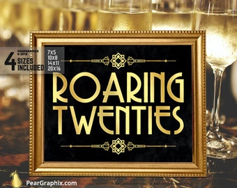 Roaring Twenties Sign, Roaring 20s Party Decorations, Great Gatsby Party Decor, Great Gatsby Decorations Black Gold Wedding Party Printables