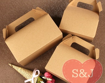 10x BROWN Kraft Gable Cardboard Boxes with Handle - wedding/birthday/party favour