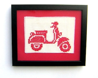 Hand Cross Stitched Framed Red Retro Scooter Picture, moped wall decor, framed embroidery, vintage travel,sightseeing, adventure, wanderlust